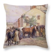 The Horse Fair  Throw Pillow by John Atkinson