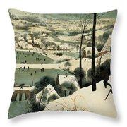The Hunters In The Snow Throw Pillow by Jan the Elder Brueghel