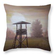 The Hunting Lodge In The Field Throw Pillow by Andreja Dujnic