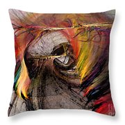 The Huntress-Abstract Art Throw Pillow by Karin Kuhlmann