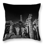 The Karnak Temple BW Throw Pillow by Erik Brede