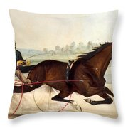 The King Of The Turf Throw Pillow by Currier And Ives