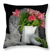 The Lace Veil  Throw Pillow by Diana Angstadt