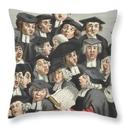 The Lecture, Illustration From Hogarth Throw Pillow by William Hogarth
