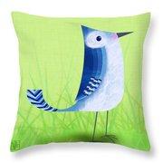 The Letter Blue J Throw Pillow by Valerie   Drake Lesiak