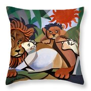 The Lion And The Lamb Throw Pillow by Anthony Falbo