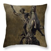 The Lion Fighter Throw Pillow by Tom Gari Gallery-Three-Photography
