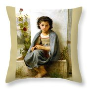 The Little Knitter Throw Pillow by William Bouguereau