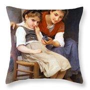 The Little Sulk Throw Pillow by William Bouguereau