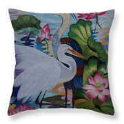 The Lotus Pond Hand Embroidery Throw Pillow by To-Tam Gerwe