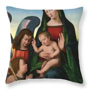 The Madonna And Child With The Young Saint John The Baptist And An Angel  Throw Pillow by Giuliano Buigardini and Mariotto Albertinelli