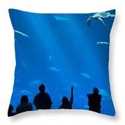 The Magnificent Open Sea Exhibit At The Monterey Bay Aquarium. Throw Pillow by Jamie Pham