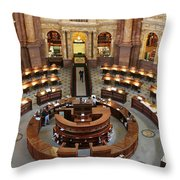 The Main Reading Room Of The Library Of Congress Throw Pillow by Allen Beatty
