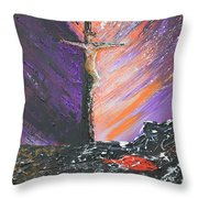 The Man On The Cross Throw Pillow by Alys Caviness-Gober