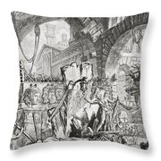 The Man On The Rack Plate II From Carceri D'invenzione Throw Pillow by Giovanni Battista Piranesi