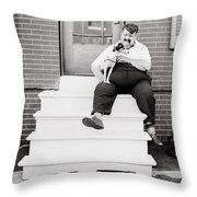 The man with the little dog circa 1938  Throw Pillow by Aged Pixel