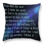 The Memorare Throw Pillow by Barbara Griffin