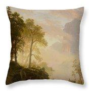 The Merced River In Yosemite Throw Pillow by Albert Bierstadt
