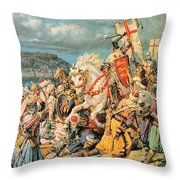 The Mighty King Of Chivalry Richard The Lionheart Throw Pillow by Fortunino Matania