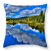 The Moose River From The Green Bridge Throw Pillow by David Patterson