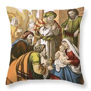 The Nativity Throw Pillow by English School