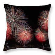 The New York City Skyline All Lit Up Throw Pillow by Susan Candelario