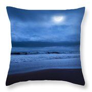 The Ocean Moon Square Throw Pillow by Bill Wakeley