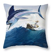 The Old Man And The Sea Throw Pillow by Harry G Seabright