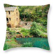 The Old Mill - North Little Rock - Pugh's Mill 1832 Throw Pillow by Gregory Ballos