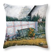 The Old Quilt Throw Pillow by Michael Humphries