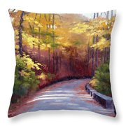 The Old Roadway In Autumn II Throw Pillow by Janet King