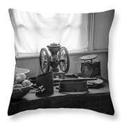 The Old Table By The Window - Wonderful Memories Of The Past - 19th Century Table And Window Throw Pillow by Gary Heller