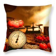 The Old Tomato Farm Stand Throw Pillow by Olivier Le Queinec