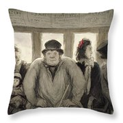 The Omnibus Throw Pillow by Honore Daumier