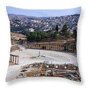 The Oval Plaza At Jerash In Jordan Throw Pillow by Robert Preston