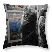 The Painter And His Paintings Throw Pillow by Erik Brede