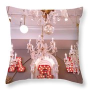 The Paris Market - Savannah Georgia Paris Market - Paris Market Shoppe - Paris Brocante Chandeliers Throw Pillow by Kathy Fornal
