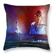 The Pianist 02 Throw Pillow by Miki De Goodaboom