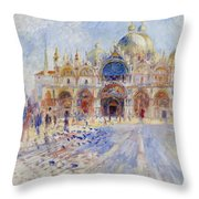 The Piazza San Marco Throw Pillow by Pierre Auguste Renoir
