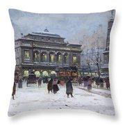 The Place Du Chatelet Paris Throw Pillow by Eugene Galien-Laloue