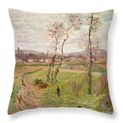 The Plain At Gennevilliers Throw Pillow by Claude Monet