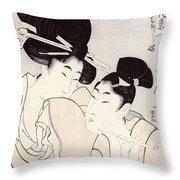 The Pleasure Of Conversation Throw Pillow by Kitagawa Utamaro