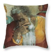 The Prophet Jeremiah Throw Pillow by Michelangelo