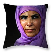 The Purple Sari Throw Pillow by Diana Angstadt
