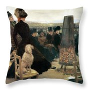 The Races At Auteuil Throw Pillow by Giuseppe Nittis