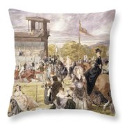 The Races At Longchamp In 1874 Throw Pillow by Pierre Gavarni