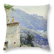 The Ravello Coastline Throw Pillow by Peder Monsted