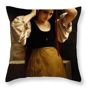 The Red Ribbon Throw Pillow by William Adolphe Bouguereau