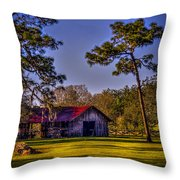 The Red Roof Barn Throw Pillow by Marvin Spates