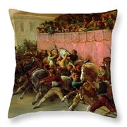 The Riderless Racers At Rome Throw Pillow by Theodore Gericault